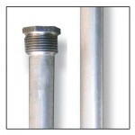 "Aluminum Zinc Anode Rod - .800 x 3/4 x 44"" hex head anode, Model# AR136"